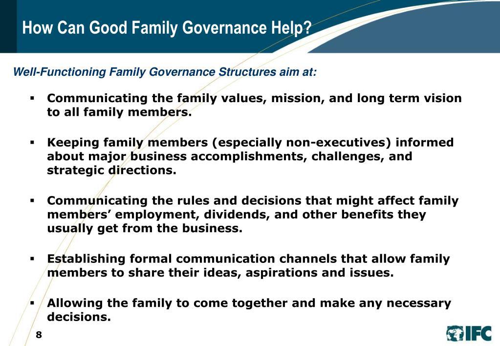 How Can Good Family Governance Help?