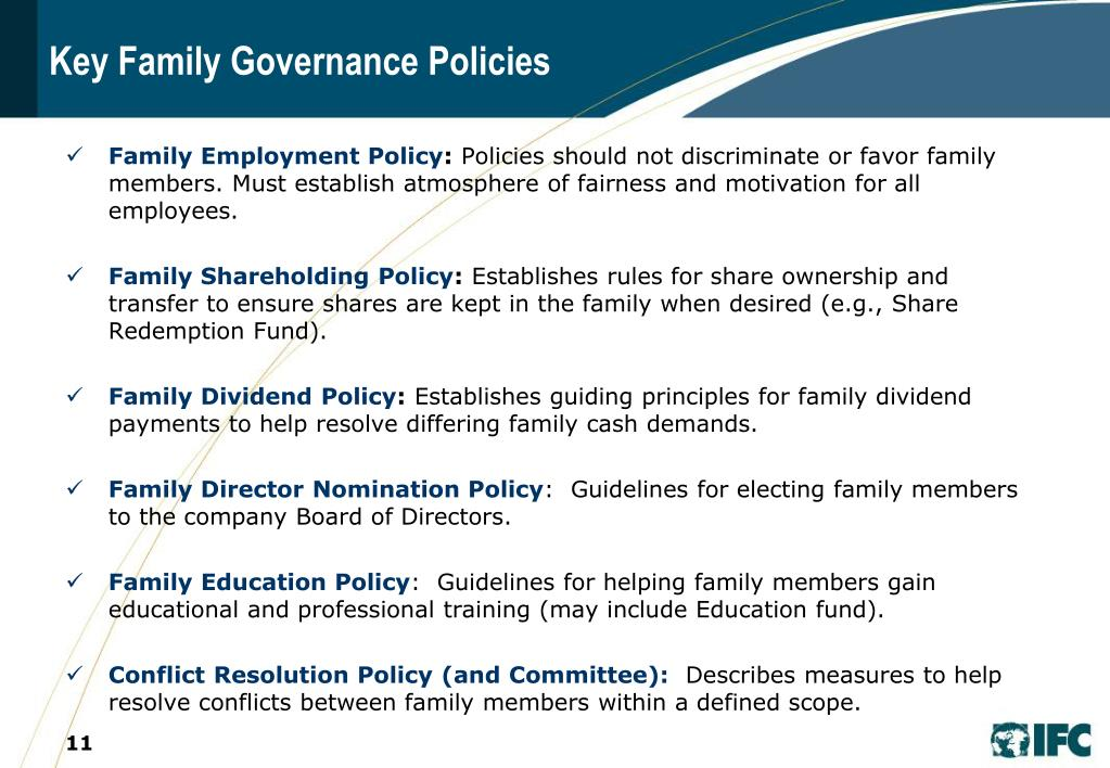 Key Family Governance Policies