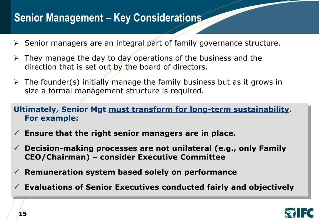 Senior Management – Key Considerations