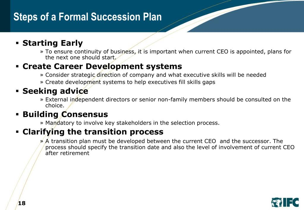 Steps of a Formal Succession Plan