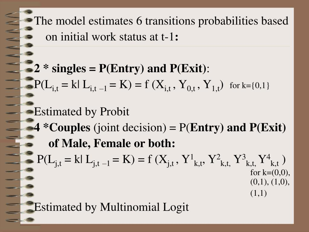 The model estimates 6 transitions probabilities based