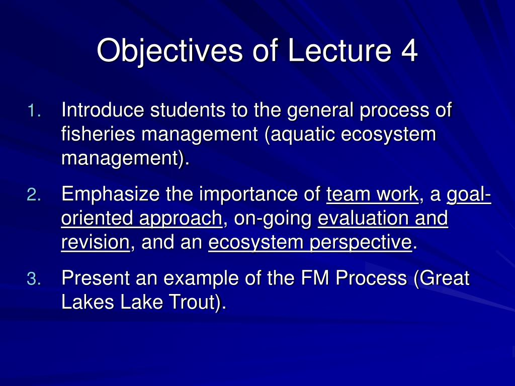 Objectives of Lecture 4