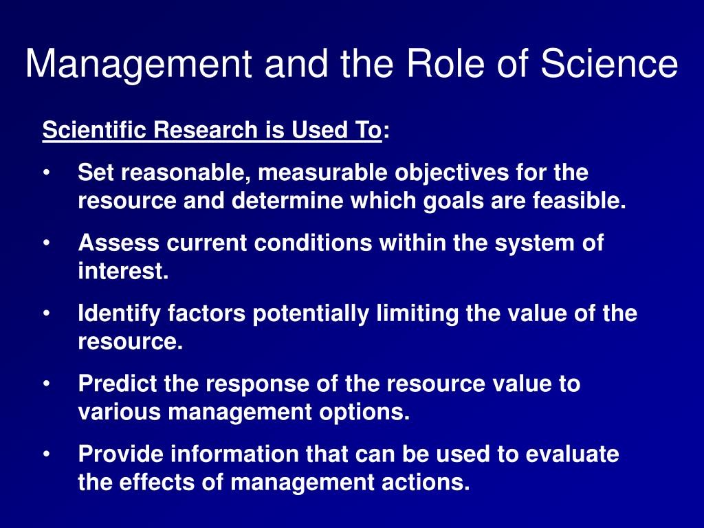 Management and the Role of Science