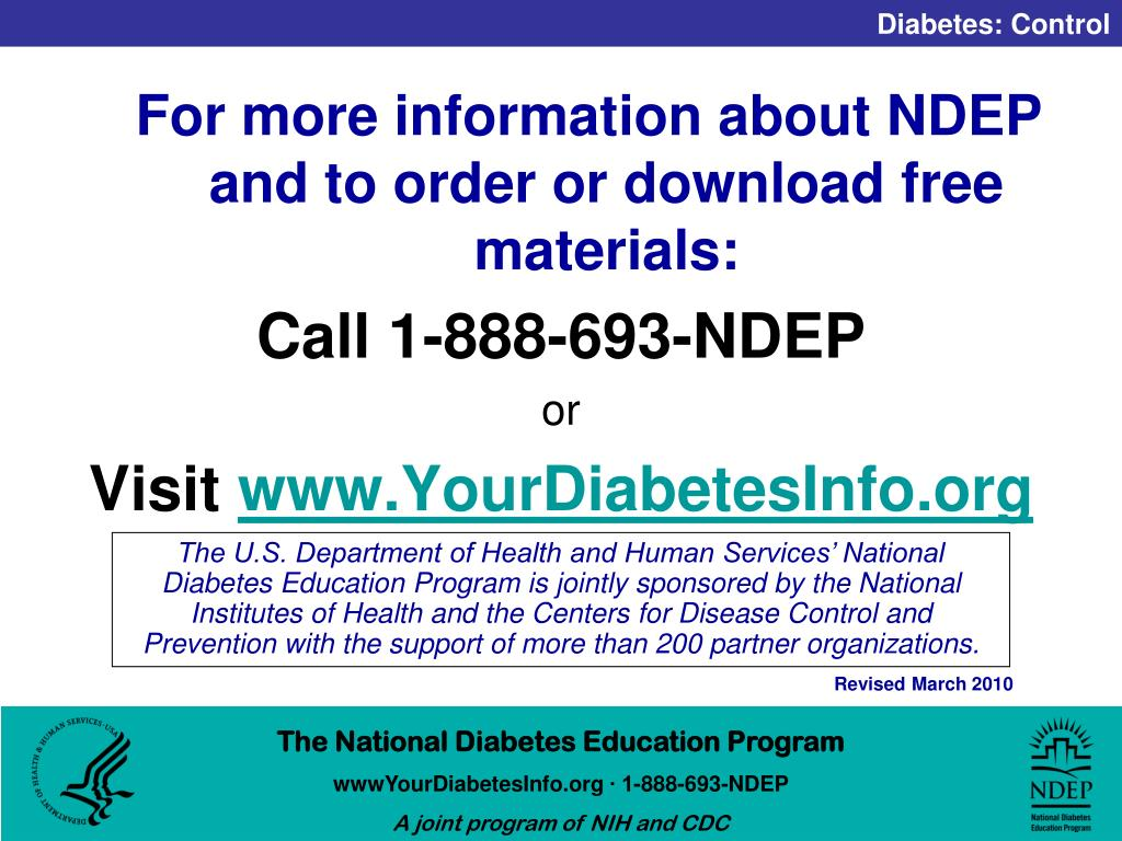 For more information about NDEP and to order or download free materials: