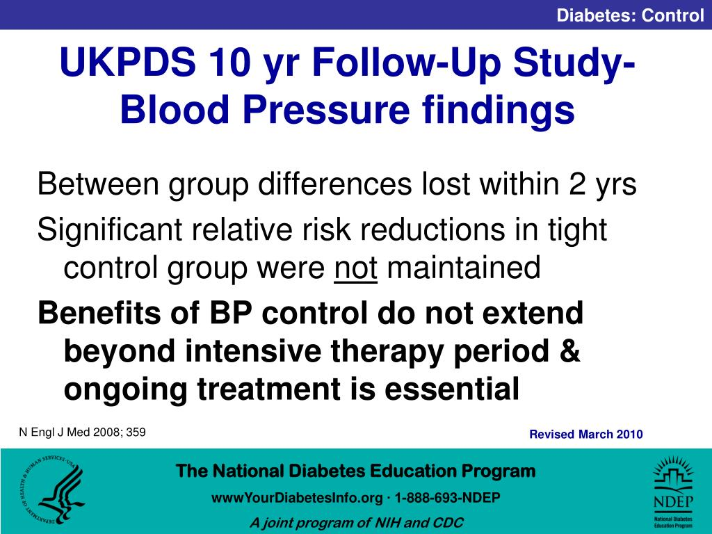 UKPDS 10 yr Follow-Up Study- Blood Pressure findings