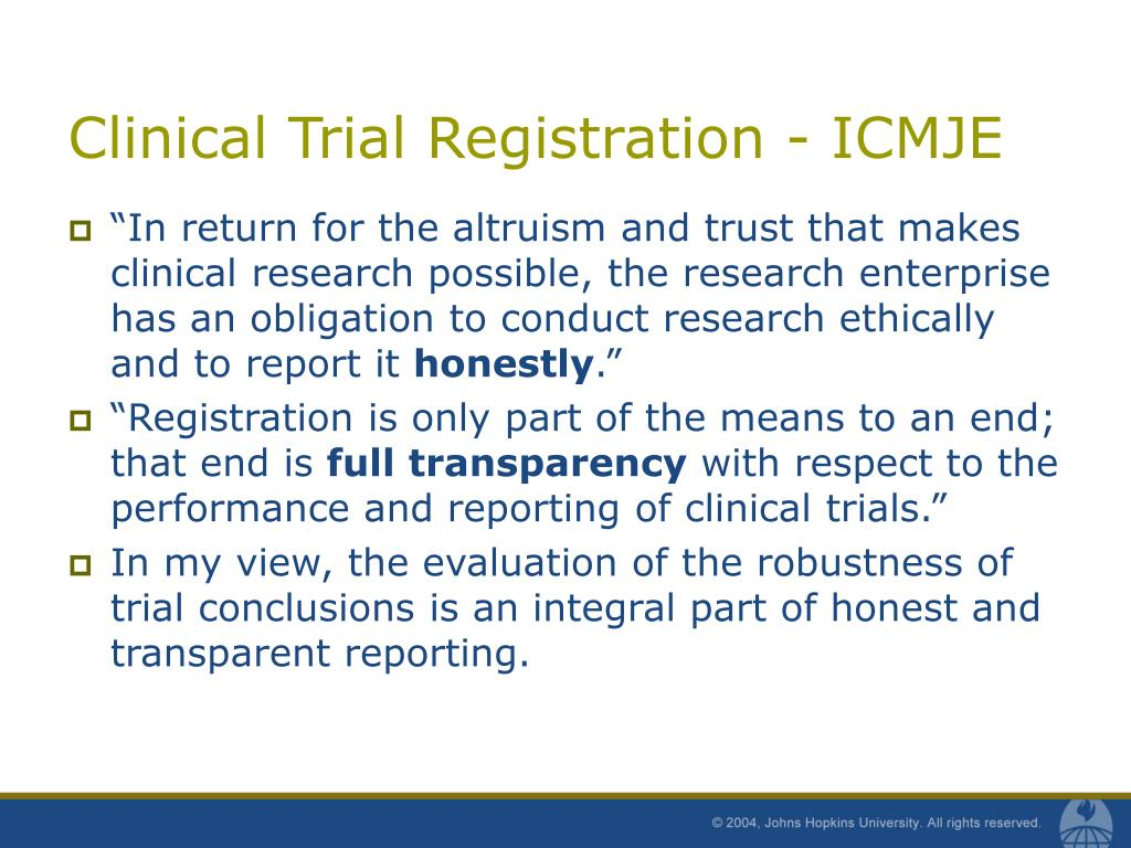 Clinical Trial Registration - ICMJE