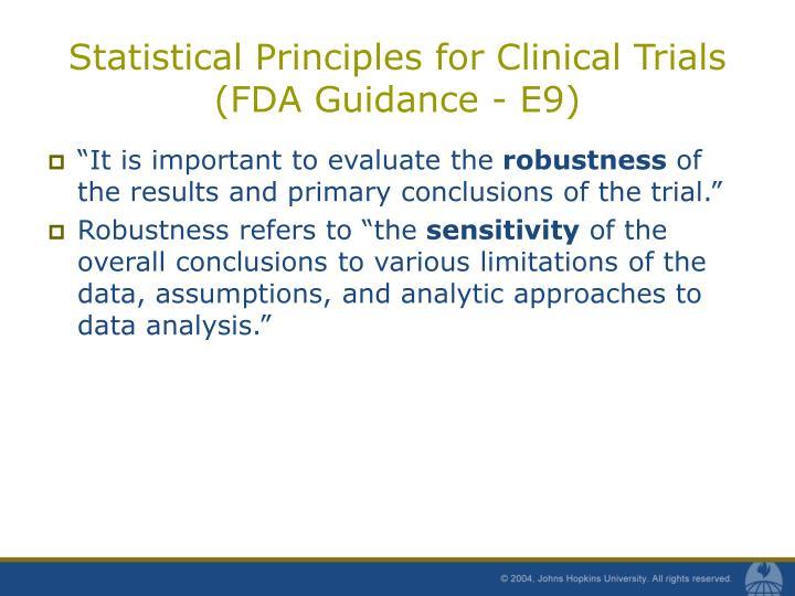 Statistical principles for clinical trials fda guidance e9
