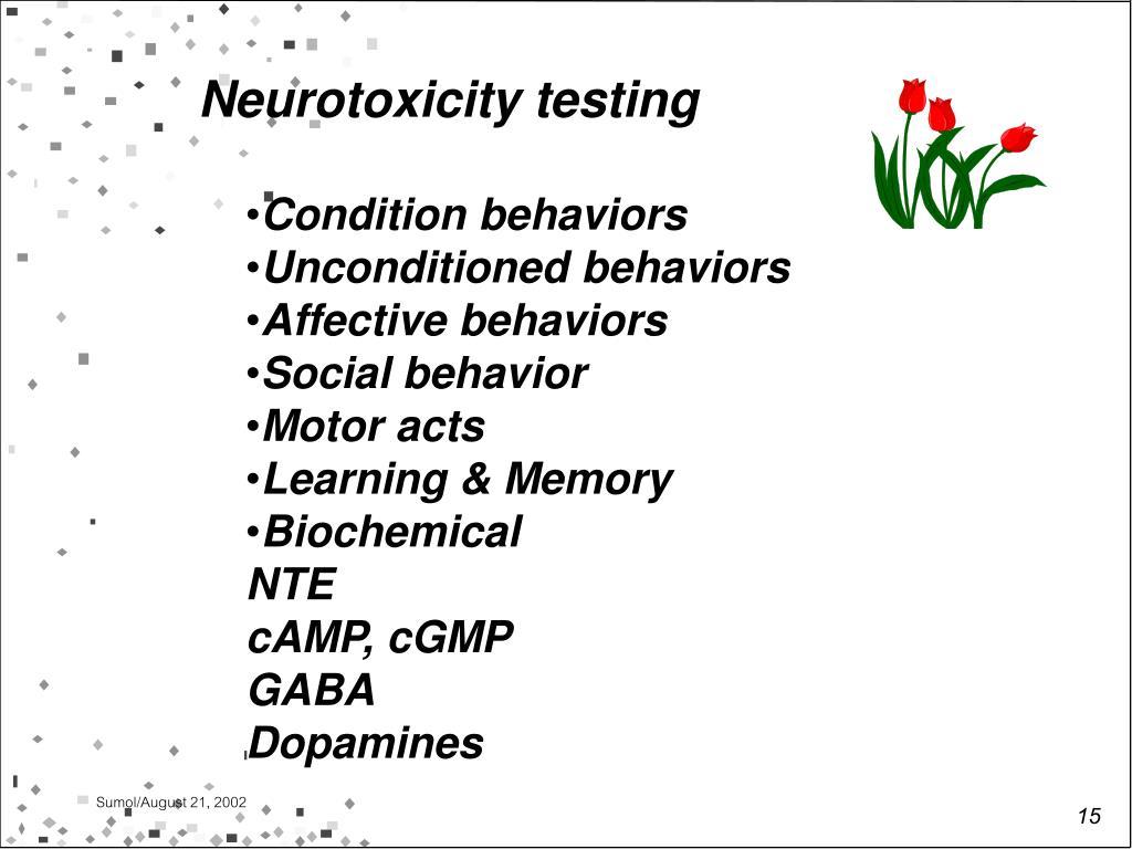 Neurotoxicity testing