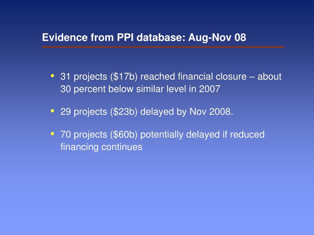 Evidence from PPI database: Aug-Nov 08