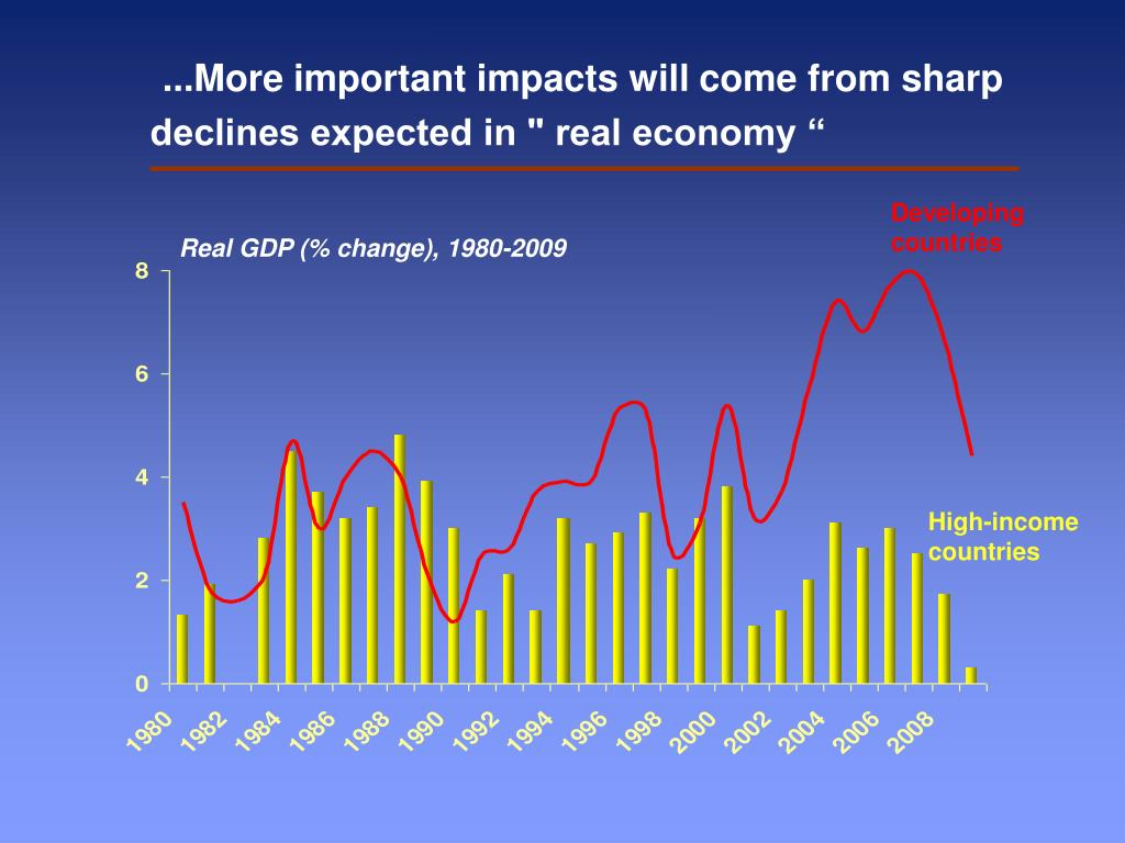 """...More important impacts will come from sharp declines expected in """" real economy """""""