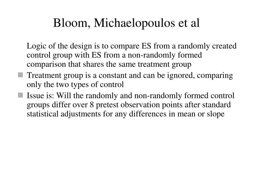 Bloom, Michaelopoulos et al