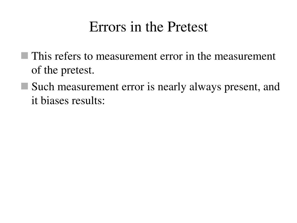 Errors in the Pretest