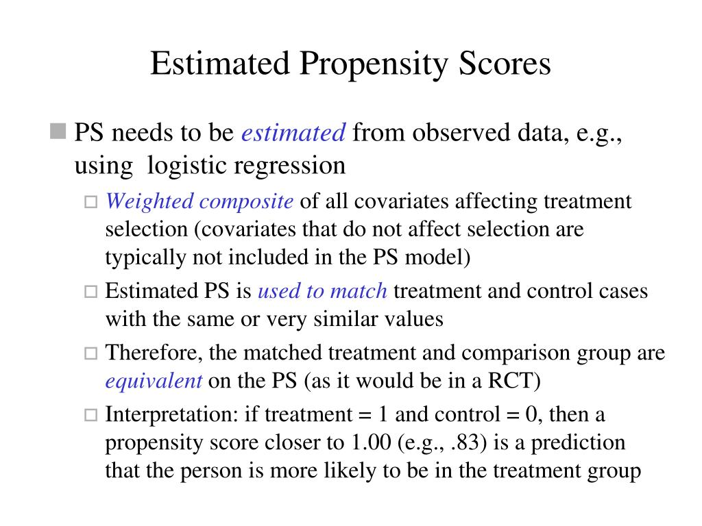 Estimated Propensity Scores