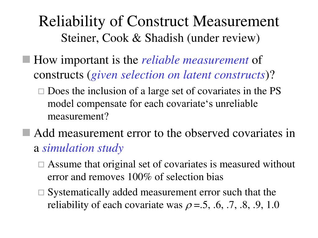 Reliability of Construct Measurement