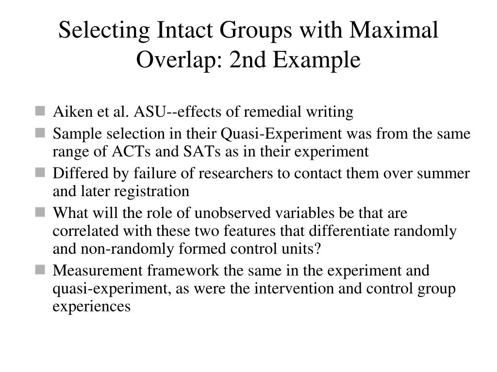 Selecting Intact Groups with Maximal Overlap: 2nd Example