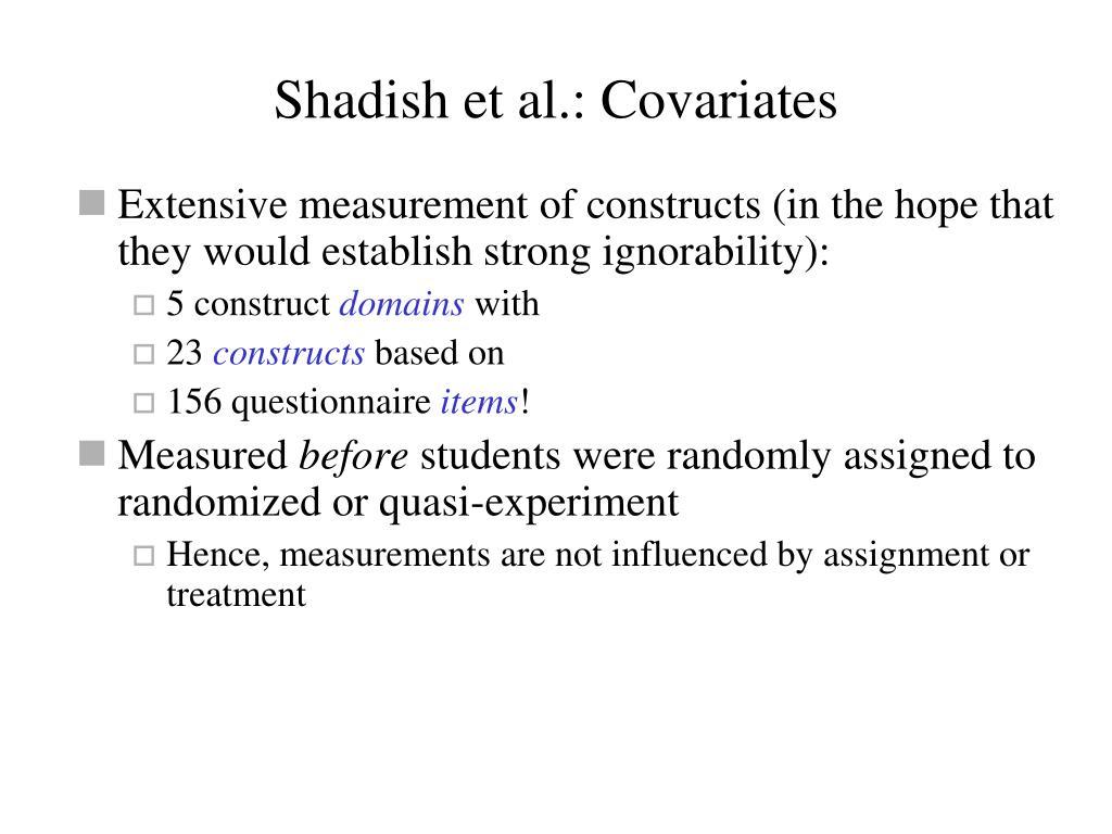 Shadish et al.: Covariates