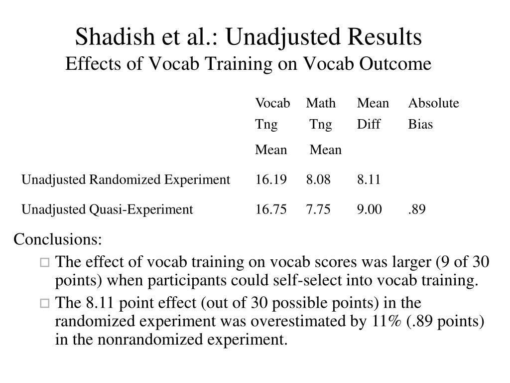 Shadish et al.: Unadjusted Results