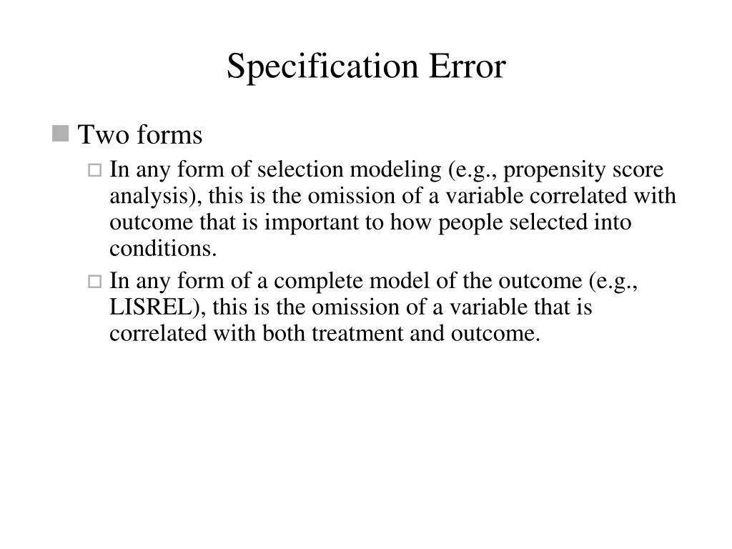 Specification Error