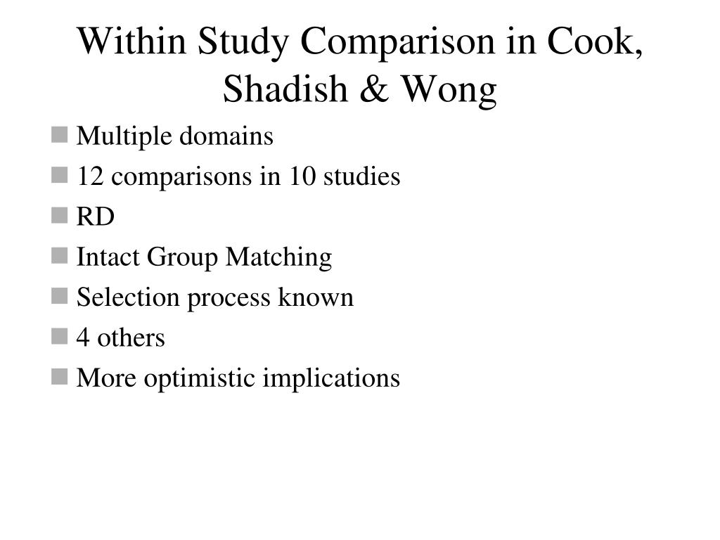 Within Study Comparison in Cook, Shadish & Wong