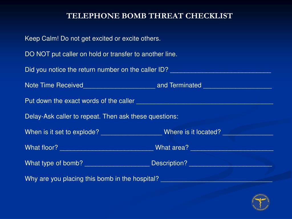 TELEPHONE BOMB THREAT CHECKLIST
