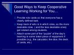 good ways to keep cooperative learning working for you