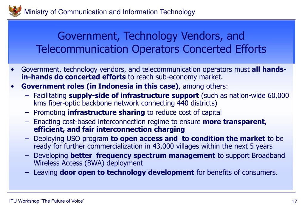 Government, Technology Vendors, and Telecommunication Operators Concerted Efforts