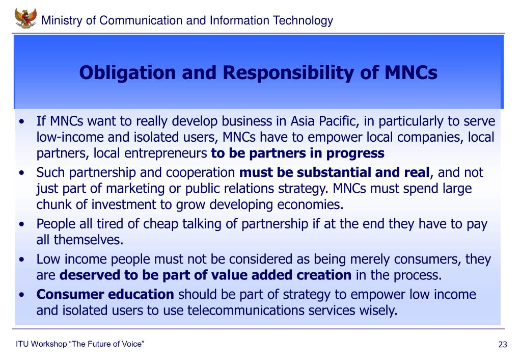 Obligation and Responsibility of MNCs