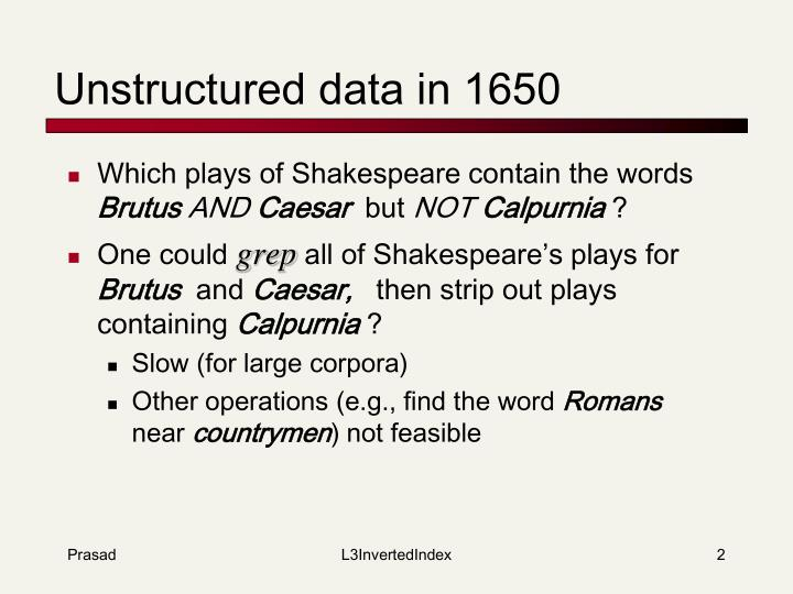 Unstructured data in 1650