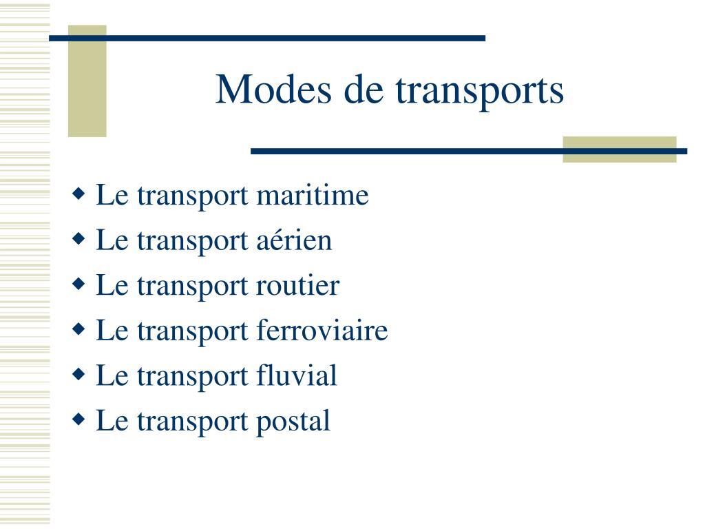 Modes de transports