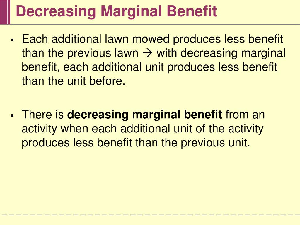 Decreasing Marginal Benefit