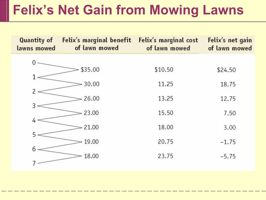 Felix's Net Gain from Mowing Lawns