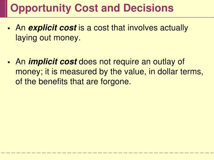 Opportunity cost and decisions