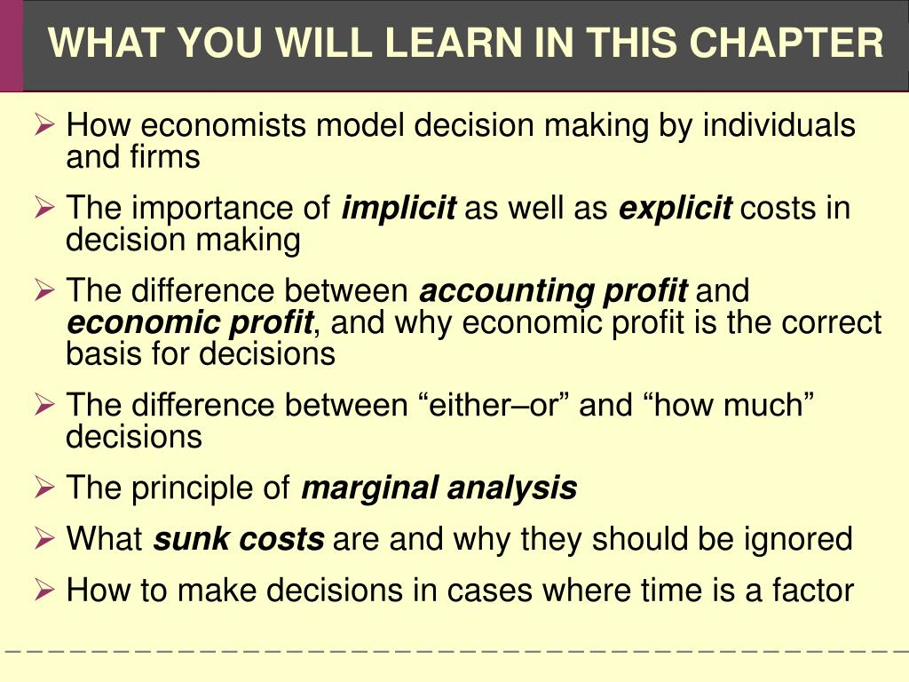 How economists model decision making by individuals and firms