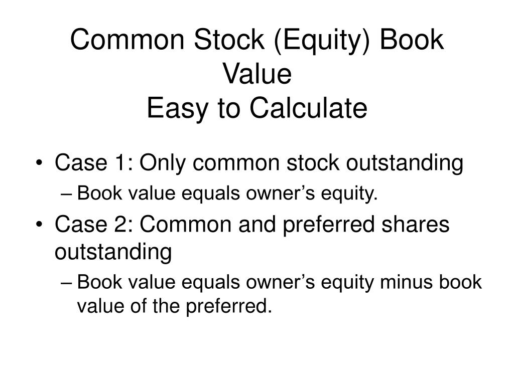 Common Stock (Equity) Book Value