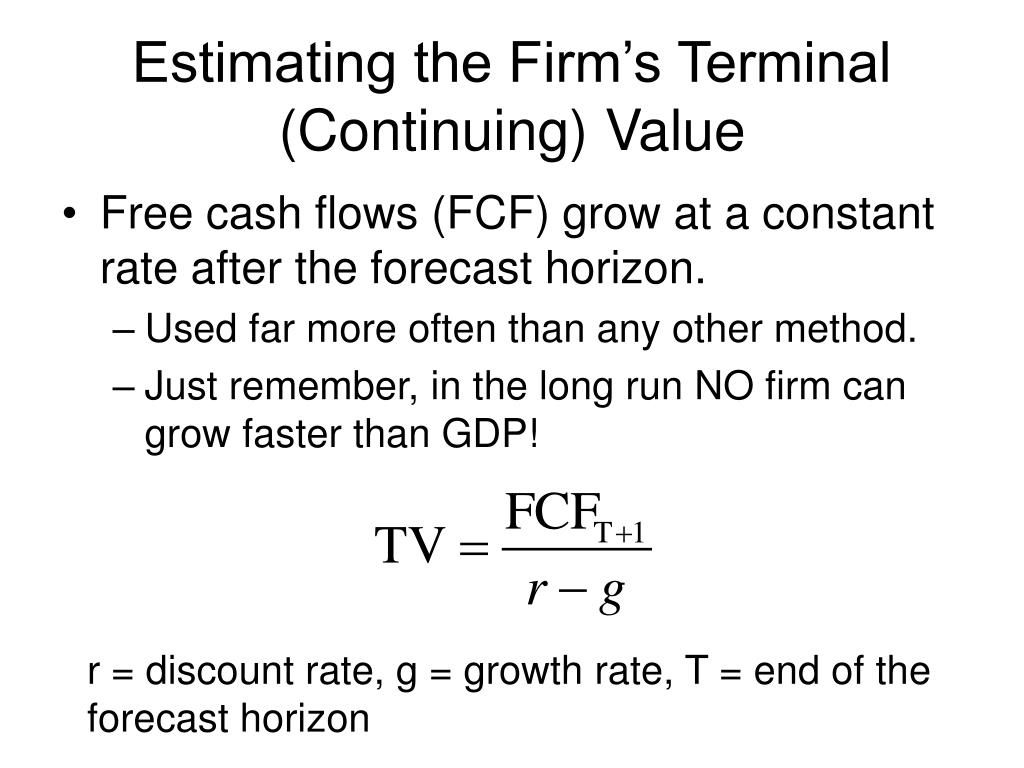 Estimating the Firm's Terminal (Continuing) Value