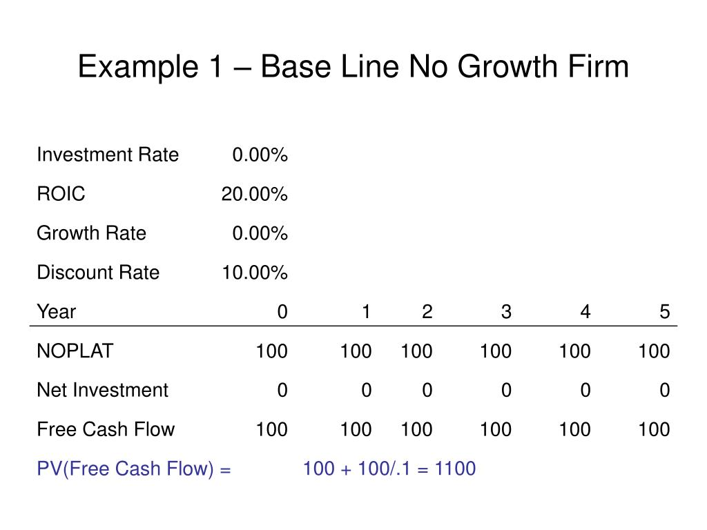 Example 1 – Base Line No Growth Firm