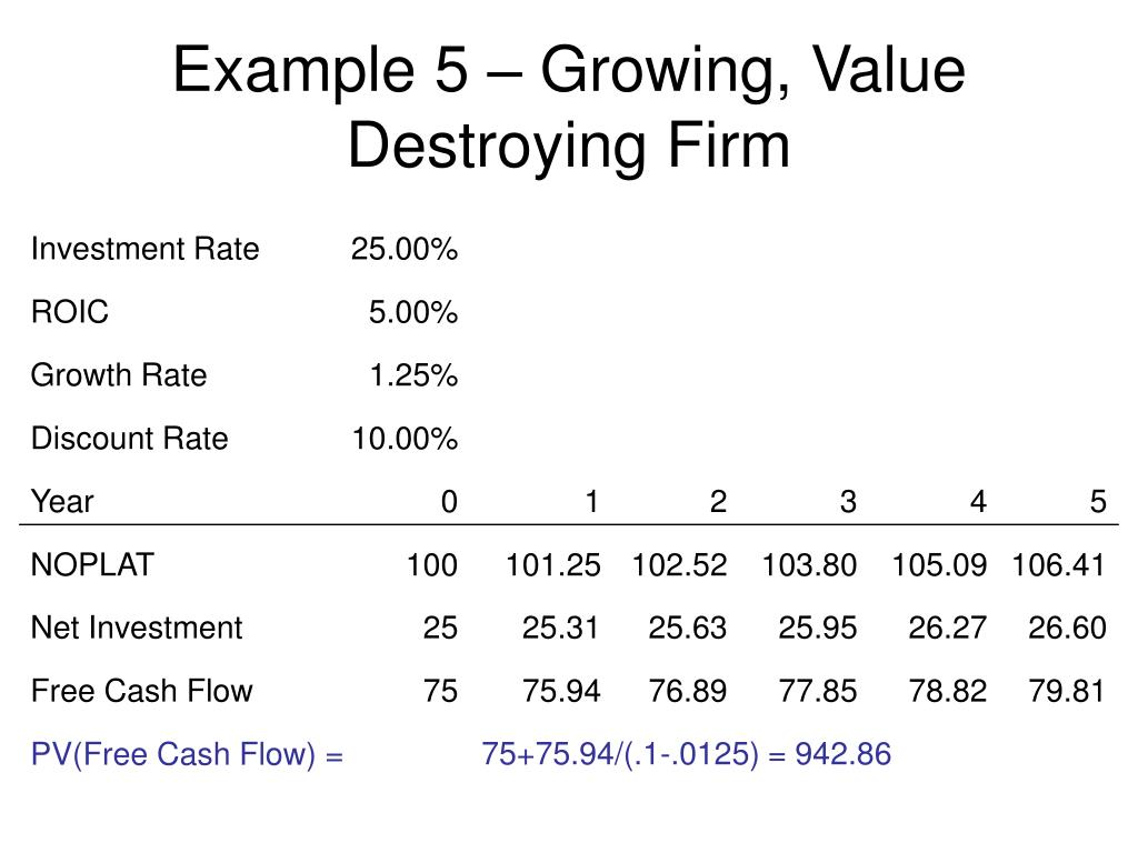 Example 5 – Growing, Value Destroying Firm