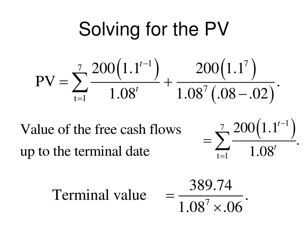 Solving for the PV