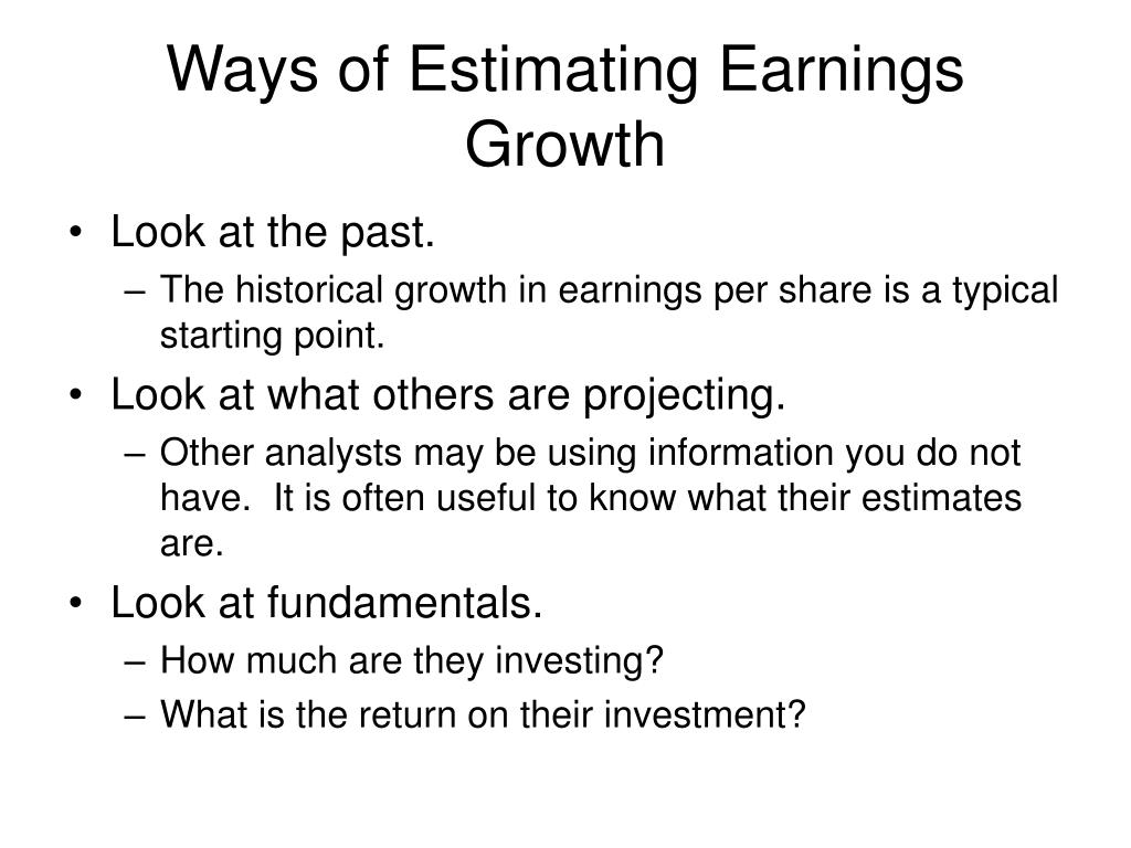 Ways of Estimating Earnings Growth