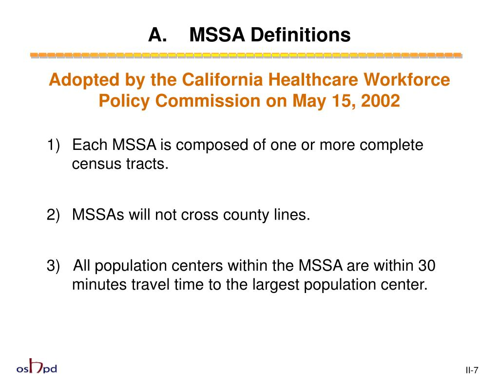 A.    MSSA Definitions