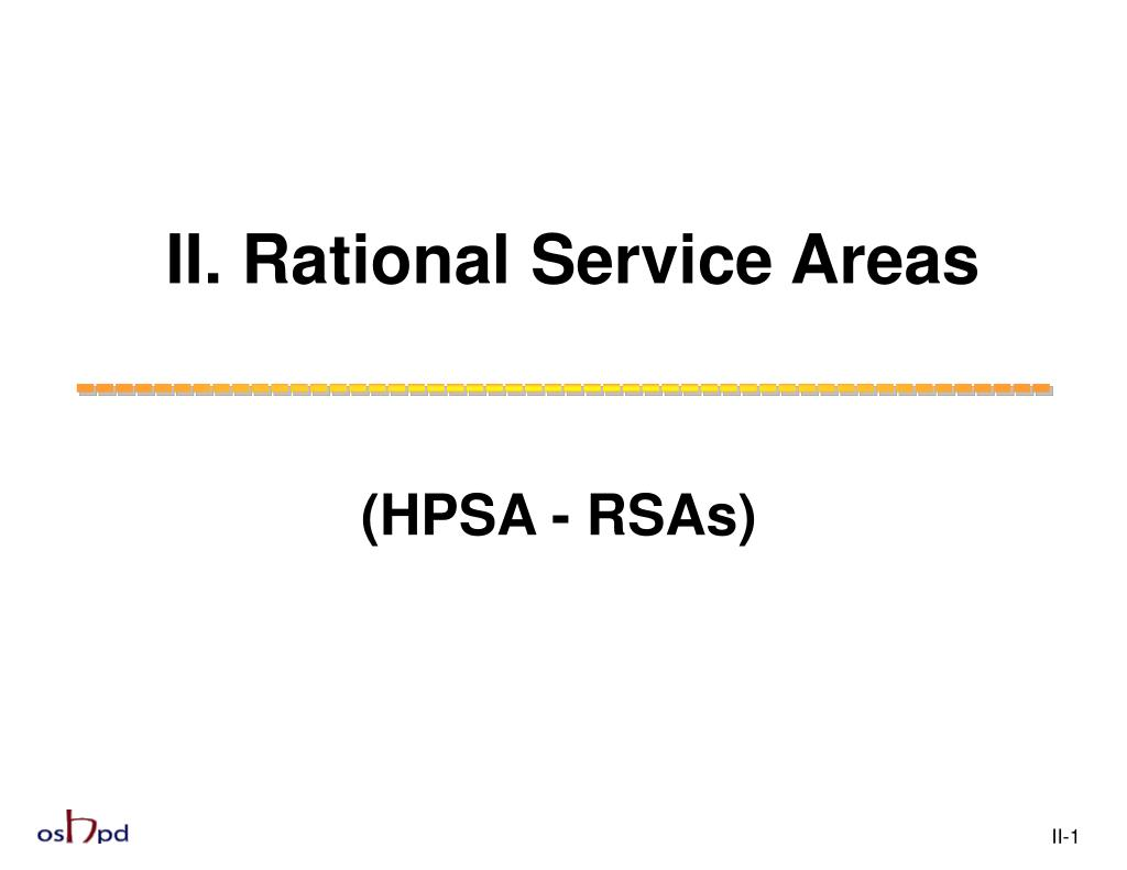 II. Rational Service Areas