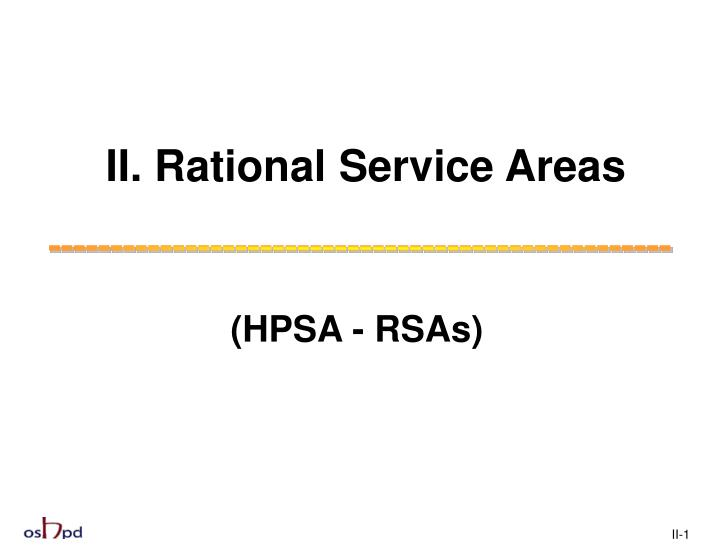 Ii rational service areas