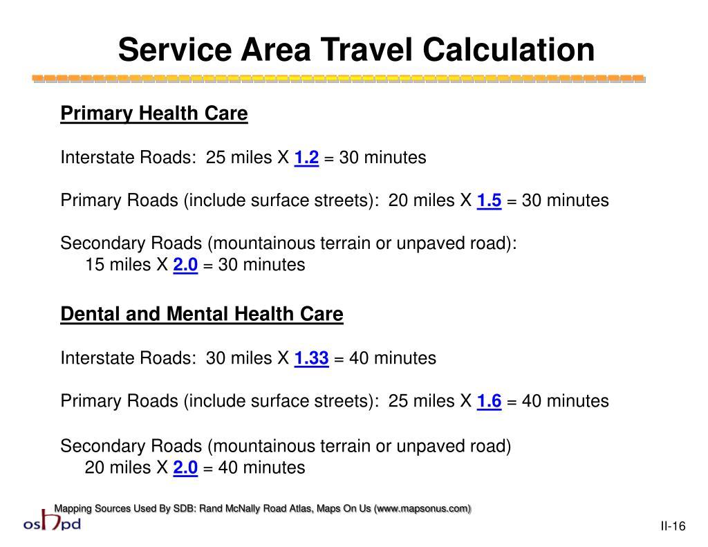 Service Area Travel Calculation