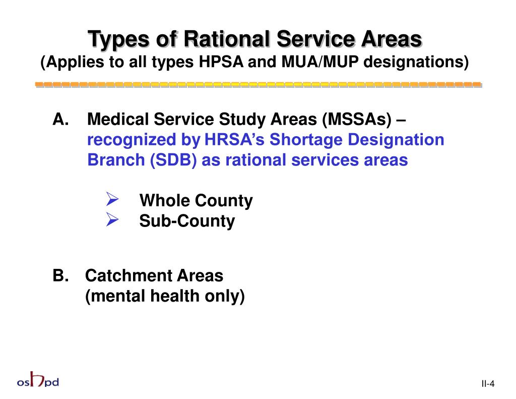 Types of Rational Service Areas