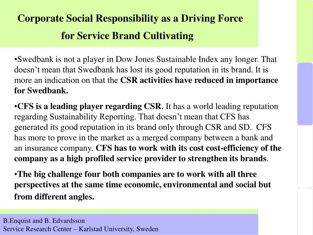 Corporate Social Responsibility as a Driving Force