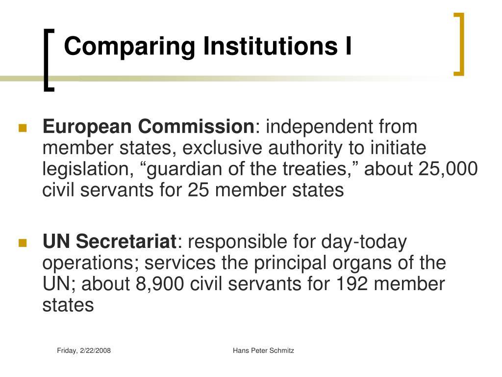 Comparing Institutions I