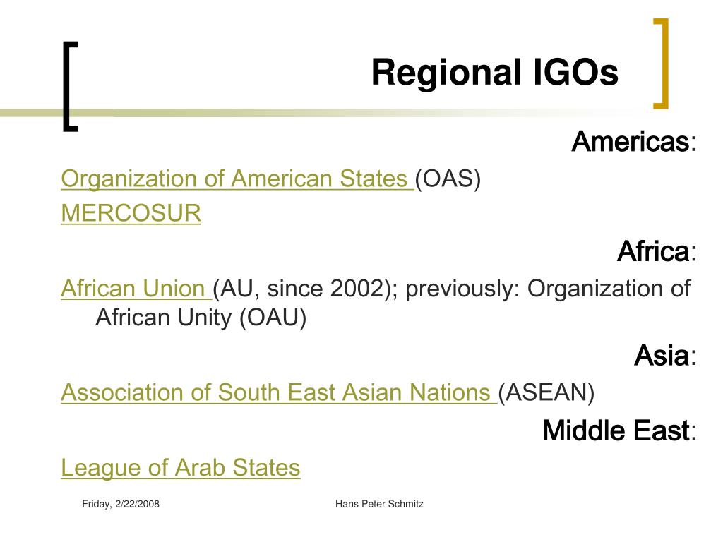 Regional IGOs