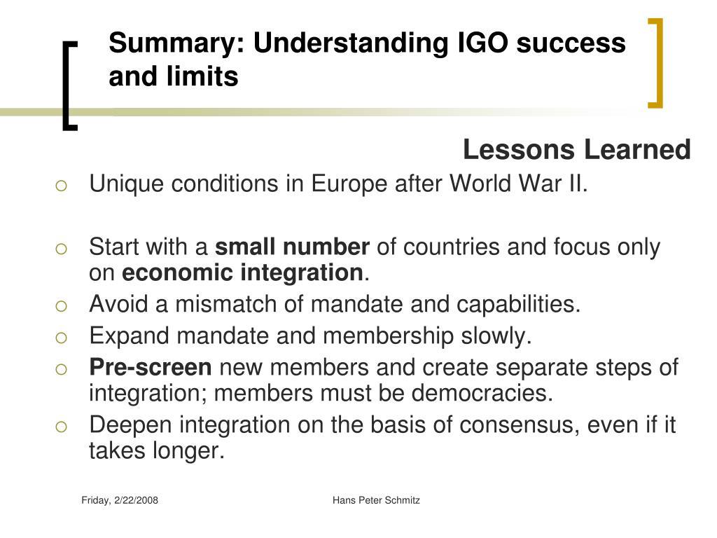 Summary: Understanding IGO success and limits