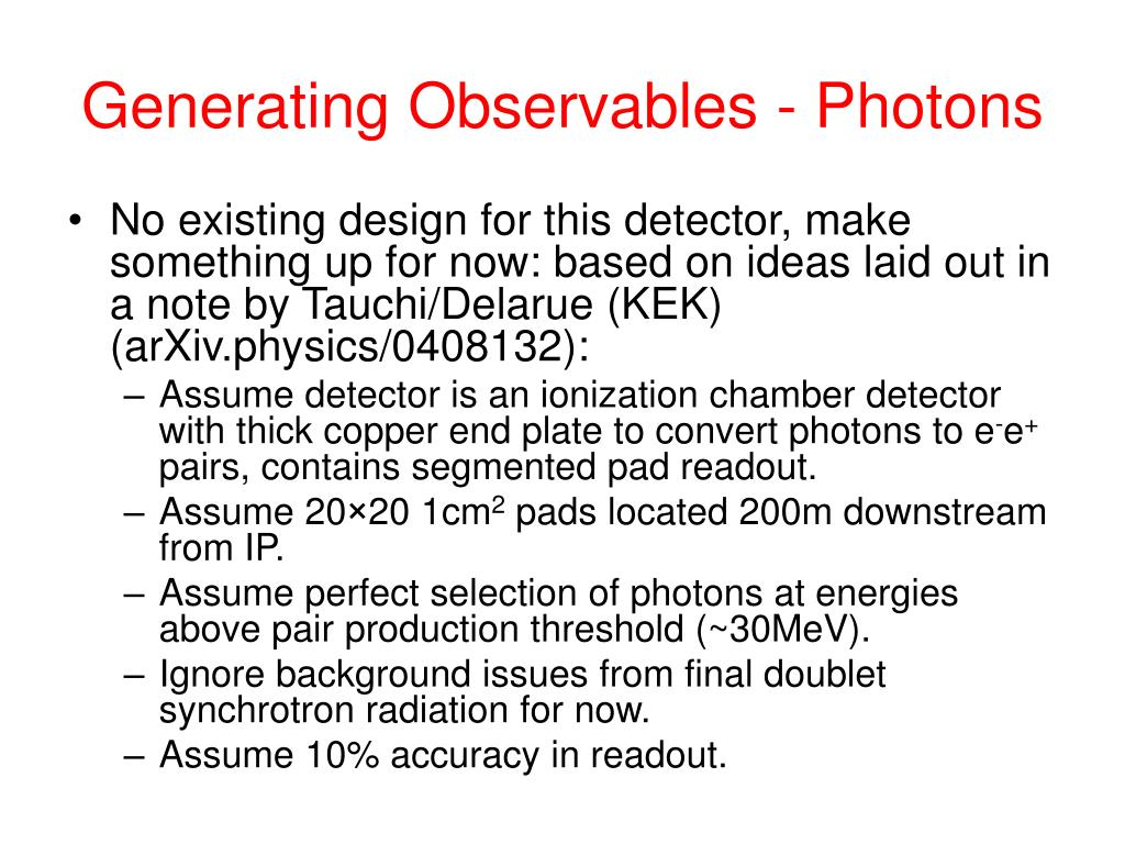 Generating Observables - Photons