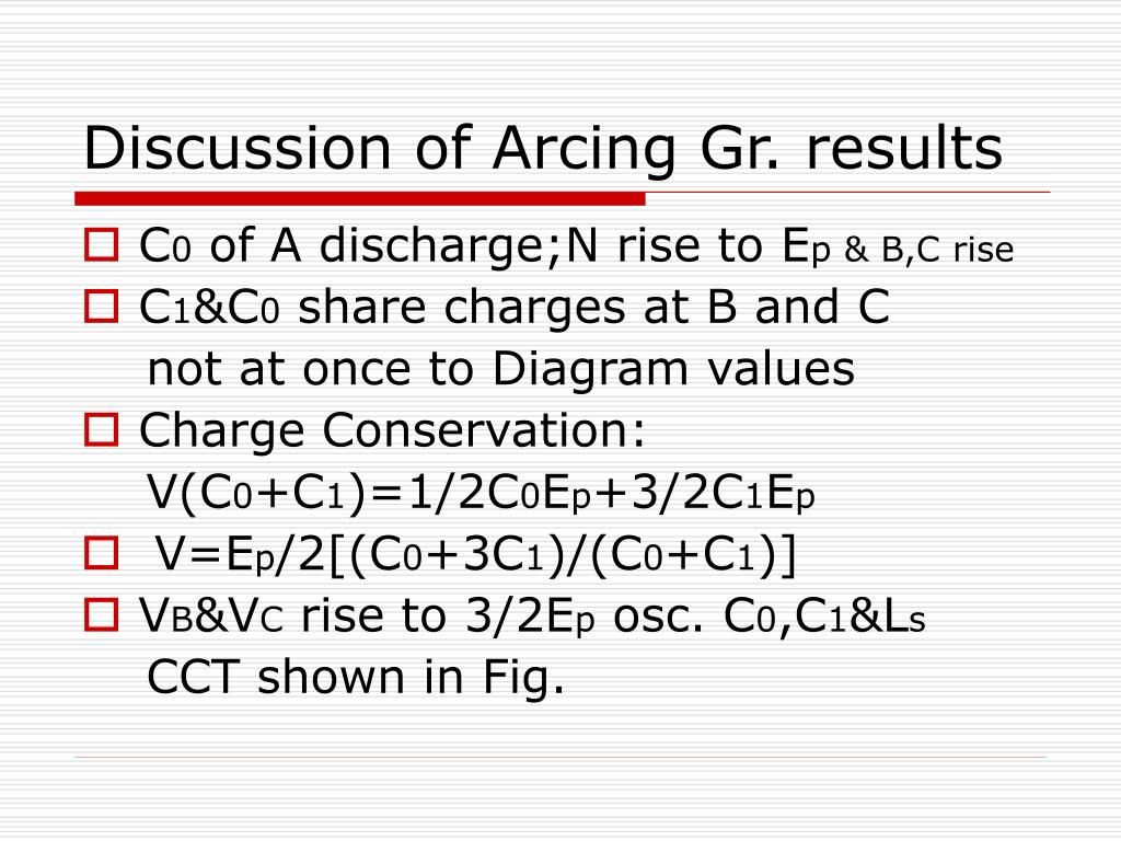 Discussion of Arcing Gr. results
